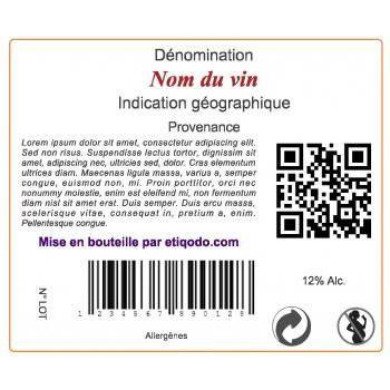 Etiquette adhésive format 50x60 sur bouteille de vin